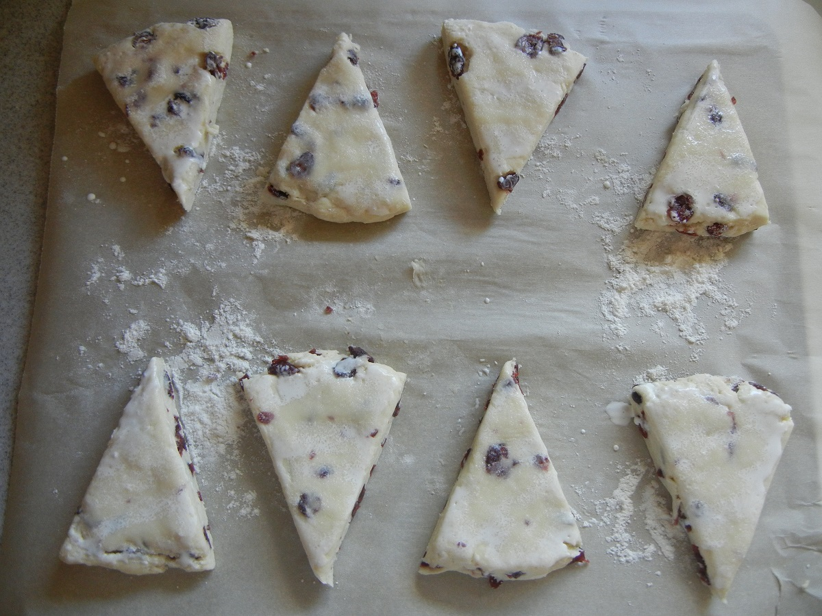 Scones - brush with cream and sprinkle with sugar before baking!