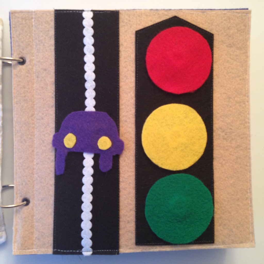 Car and stoplight quiet book page