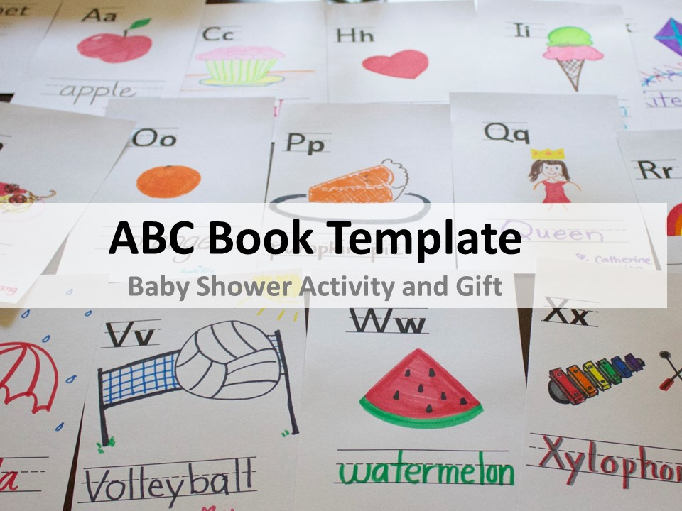 photograph relating to Abc Book Printable identify ABC E-book Template for Little one Shower cuppacocoa