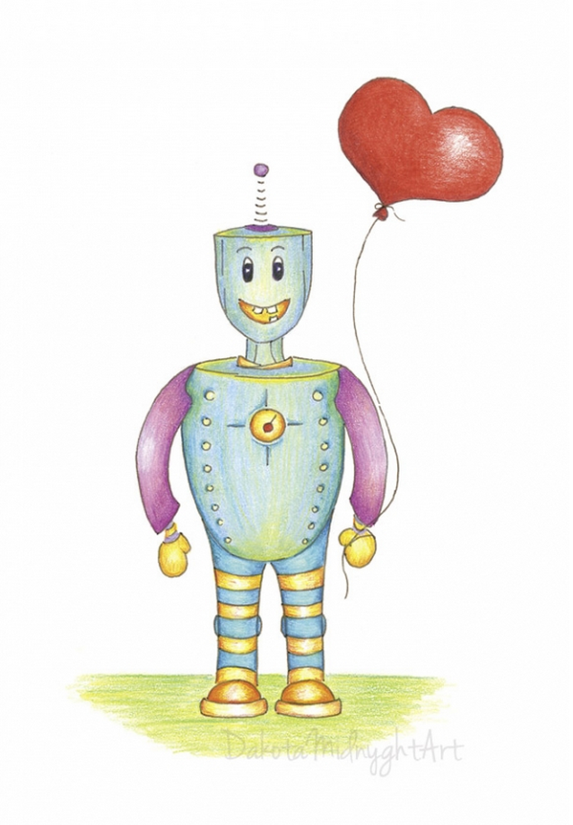 Robot with Heart Balloon