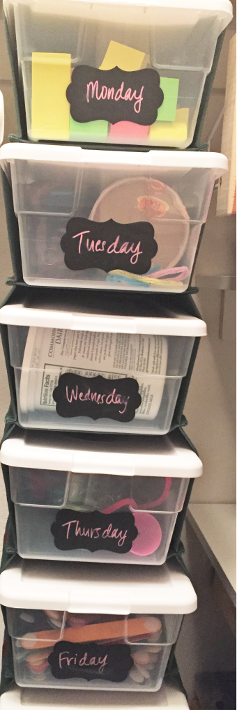 Busy Boxes for each day of the week