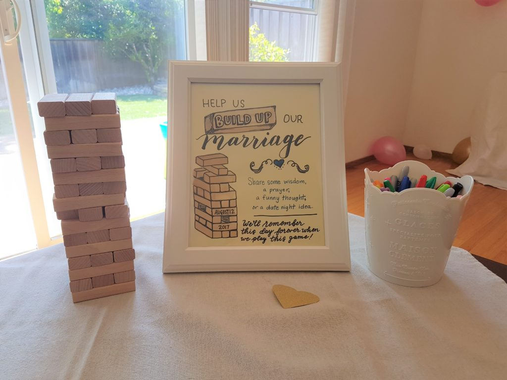 it was pretty easy to put together and offered a nice twist from the usual pen and paper version of this station i usually see at bridal showers